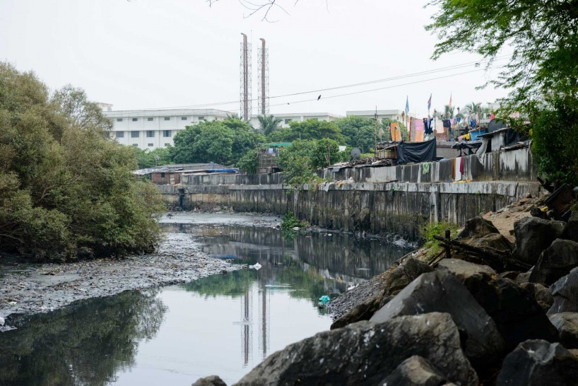 Mumbai : Juhu Beach : October 2012 : slum water