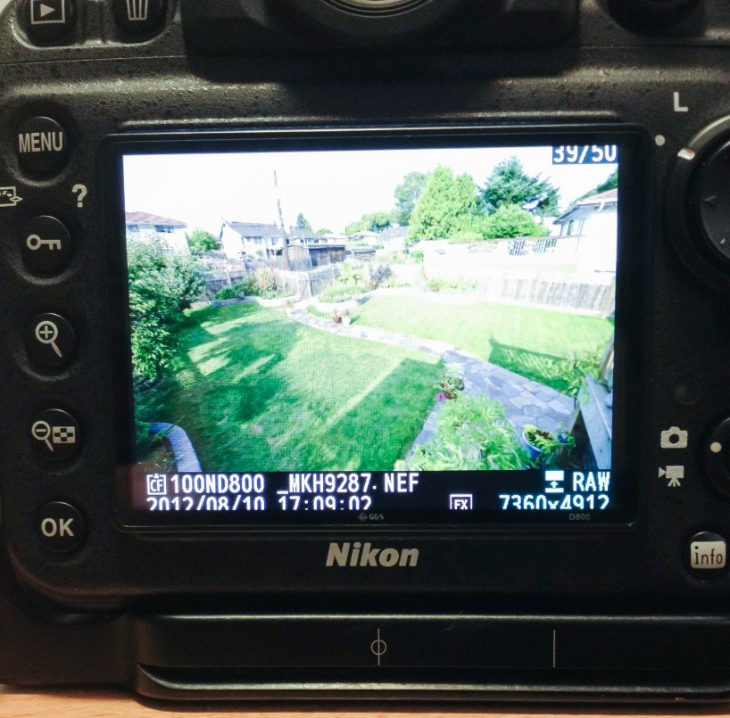 GGS Nikon D800 LCD Screen Protector - glass cover installed on camera