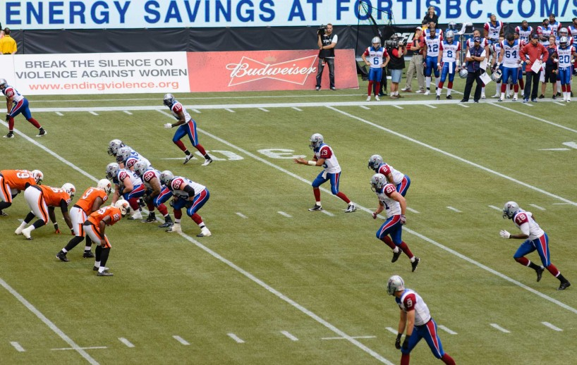 CFL Football : BC Lions vs Montreal Alouettes : Sept 8 2012 : Snap