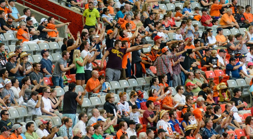 CFL Football : BC Lions vs Montreal Alouettes : Sept 8 2012 : The Wave Coming Around