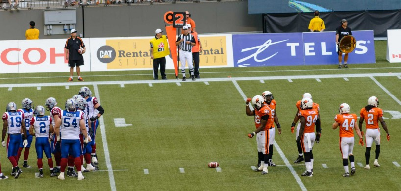 CFL Football : BC Lions vs Montreal Alouettes : Sept 8 2012 : Robot