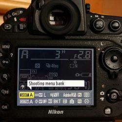 Nikon D800 Shooting Menu Bank Selection - Info Screen