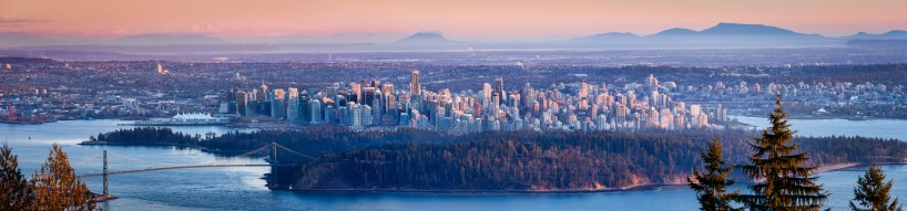 Vancouver Skyline At Sunset : February 19, 2013 : Taken from lookout on way to Cypress Mountain