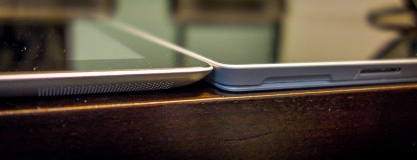 Microsoft Surface Pro 3 and Apple iPad 4 naked and side-by-side